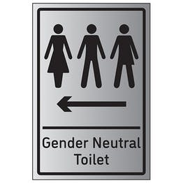 Gender Neutral Toilet Arrow Left - Aluminium Effect