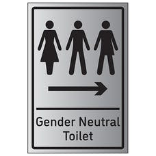 Gender Neutral Toilet Arrow Right - Aluminium Effect