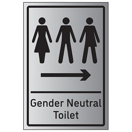 Gender Neutral Toilet Arrow Right - Aluminium Effect