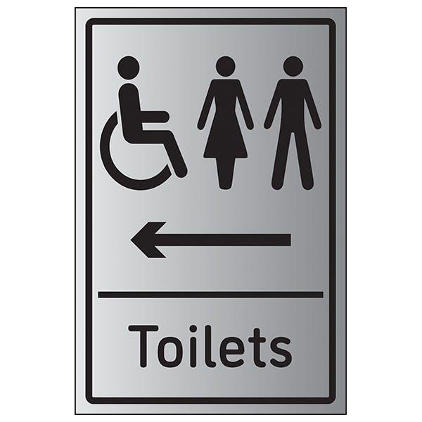 Mixed Toilets Arrow Left - Aluminium Effect