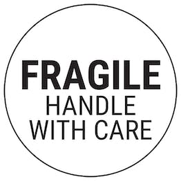 Fragile Handle With Care - Black Circular Labels On A Roll