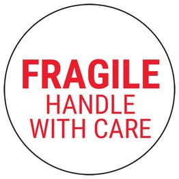 Fragile Handle With Care - Red Circular Labels On A Roll