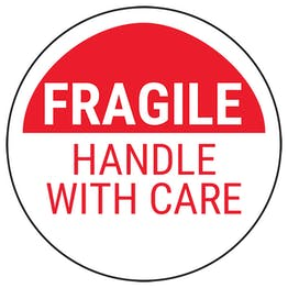 Fragile Handle With Care - Red Bold Circular Labels On A Roll