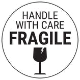 Fragile Handle With Care - Black Glass Circular Labels On A Roll