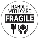 Fragile Handle With Care - Black Bold Glass Circular Labels On A Roll
