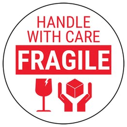 Fragile Handle With Care - Red Bold Glass Circular Labels On A Roll