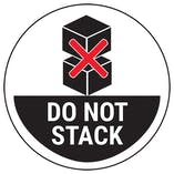 Do Not Stack Boxes - Black Circular Labels On A Roll
