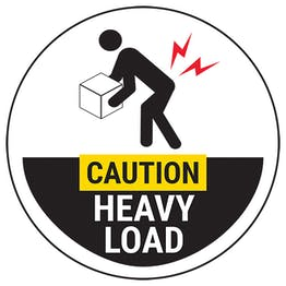 Caution Heavy Load Black Circular Labels On A Roll