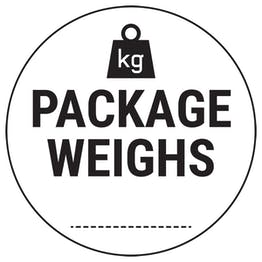 Caution Package Weighs Black Circular Labels On A Roll