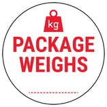 Caution Package Weighs Red Circular Labels On A Roll