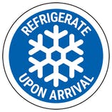 Refrigerate Upon Arrival - Bold Blue Circular Labels On A Roll