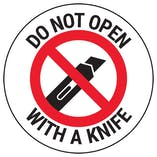 Do Not Open With A Knife Circular Labels On A Roll