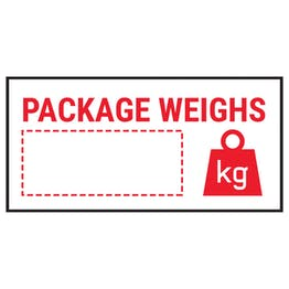 Caution Package Weighs Red Labels On A Roll