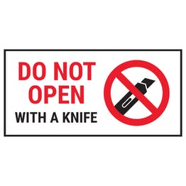 Do Not Open With A Knife Red Labels On A Roll