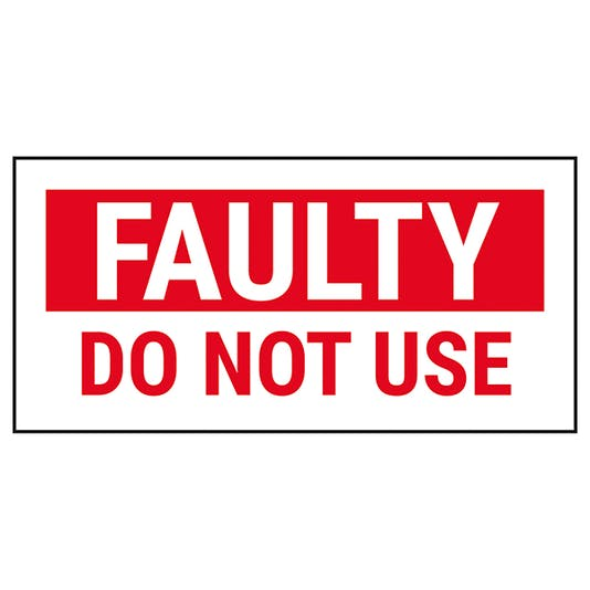 Quality Control - Faulty Do Not Use - Red Labels On A Roll ...
