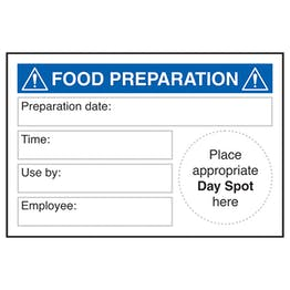 Food Preparation Place Day Spot Labels On A Roll