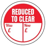 Reduced To Clear - Was / Now Circular Labels On A Roll