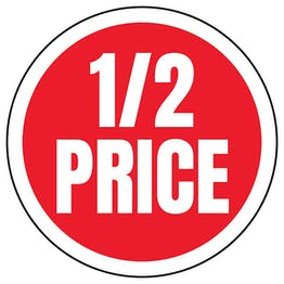 1/2 Price Circular Labels On A Roll