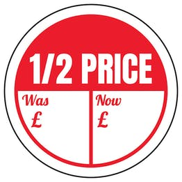 1/2 Price - Was / Now Circular Labels On A Roll