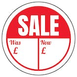 Sale - Was / Now Circular Labels On A Roll