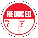 Reduced - Was / Now Circular Labels On A Roll