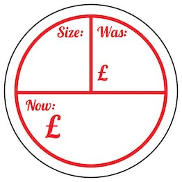 Size / Was £ / Now £ Circular Labels On A Roll