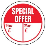 Special Offer - Was / Now Circular Labels On A Roll