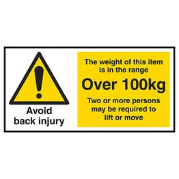 Avoid Back Injury - Weight Of This Item Over 100kg Labels On A Roll