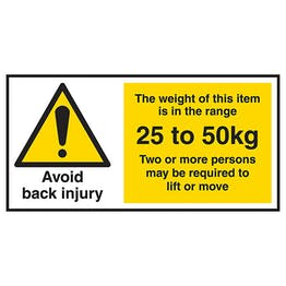 Avoid Back Injury - Weight Of This Item 25 To 50kg Labels On A Roll