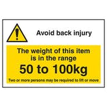 Avoid Back Injury - Weight Of This Item 50 To 100kg Labels On A Roll - Landscape