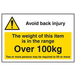 Avoid Back Injury - Weight Of This Item Over 100kg Labels On A Roll - Landscape