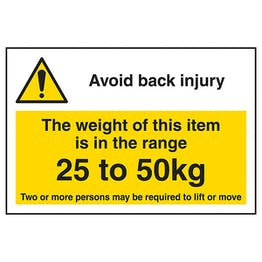 Avoid Back Injury - Weight Of This Item 25 To 50kg Labels On A Roll - Landscape
