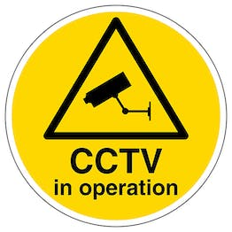 CCTV In Operation Circular Labels On A Roll