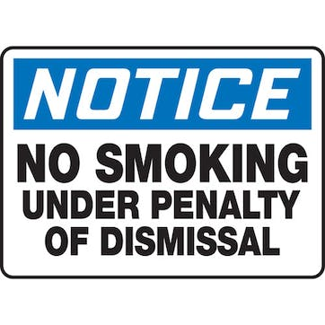 No Smoking Violation Will Result In Disciplinary Action
