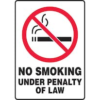 No Smoking Under Penalty Of Law W/Graphic