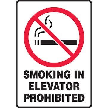 Smoking In Elevator Prohibited W/Graphic