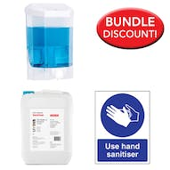 5 Litre Alcohol Free Sanitiser, Manual Dispenser Kit with Free Sign