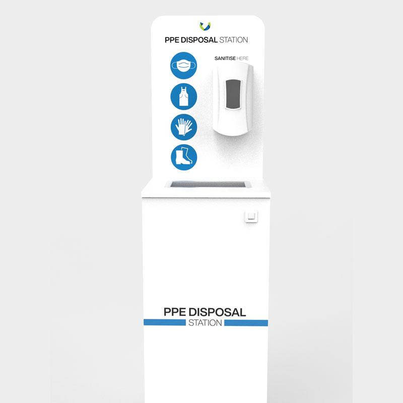 PPE Disposal Station With Hand Sanitiser Dispenser