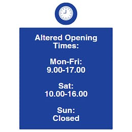 Altered Opening Times