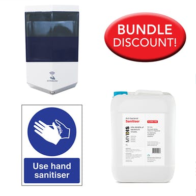 5 Litre Alcohol Free Sanitiser, Automatic Dispenser Kit with Free Sign