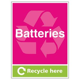 Batteries Recycle Here - Portrait