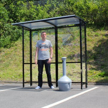 Steel Full-Frame Open Front Smoking Shelter - Clear Roof