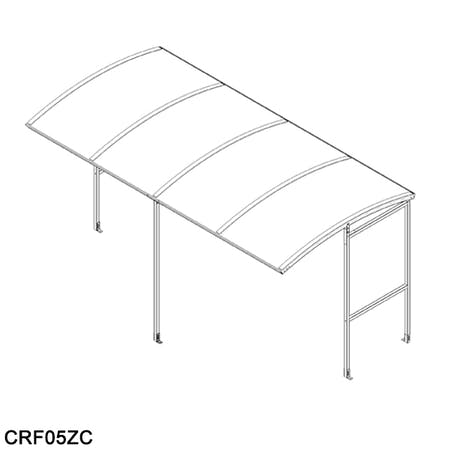Corfe Open Fronted Wall Attached Smoking Shelter - Clear Roof