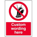 Custom No Metal Studded Footwear Sign