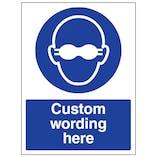 Custom Opaque Eye Protection Sign