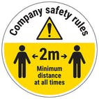 Company Rules - Keep 2m Distance Temporary Floor Sticker