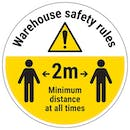 Warehouse Rules - 2m Distance Temporary Floor Sticker
