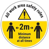 Work Area Rules - Keep 2m Distance Temporary Floor Sticker