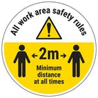 Work Area Rules - Keep 2m Distance Temporary Floor Sticker