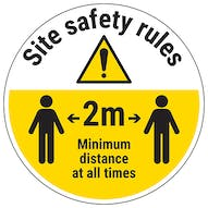 Site Safety Rules - Keep 2m Distance Temporary Floor Sticker